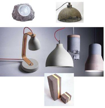Образцы и примеры светильников из бетона и гипсам