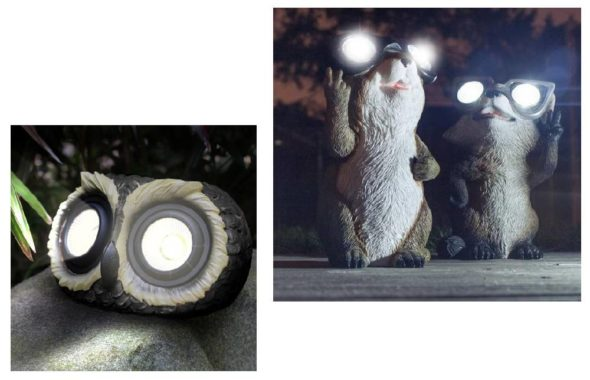 Садовые светильники на солнечных батареях из фигурок зверей
