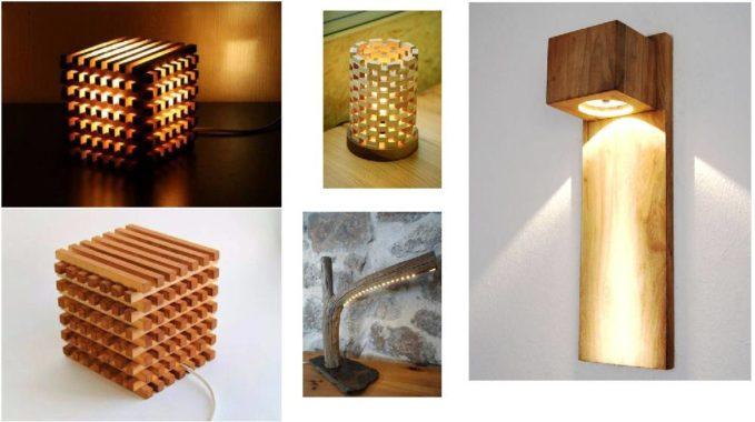 светодиодные светильники из дерева, веток и досок