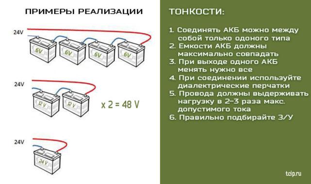 пример последовательного соединения акб