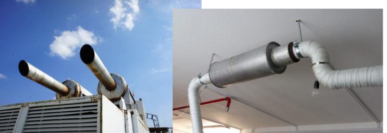 места установки глушителей дизель-генераторов