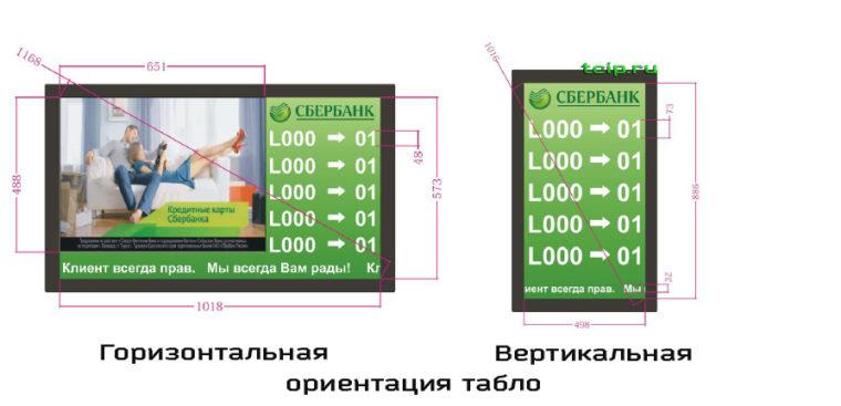 горизонтальная и вертикальная ориентация табло