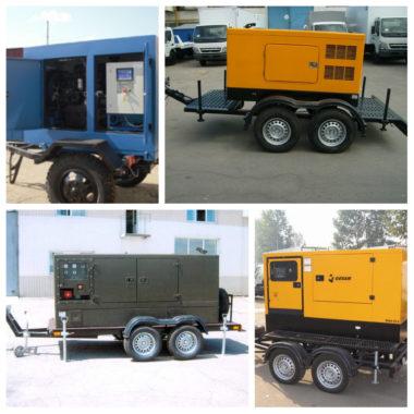разные модели дизель-генераторов на прицепе