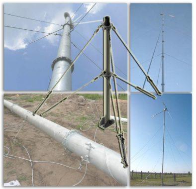 Виды и обзор мачт на растяжках для ветрогенераторов