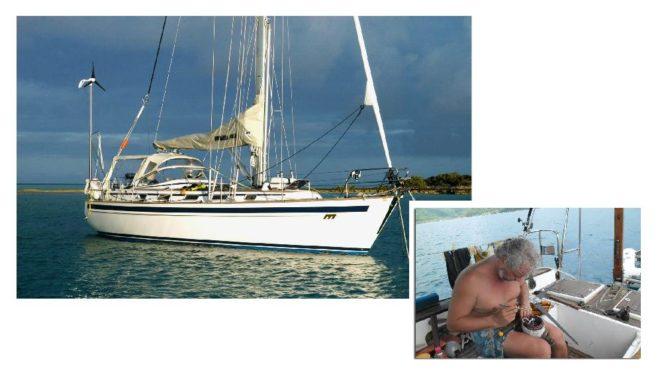 ремонт ветрогенератора прямо на яхте