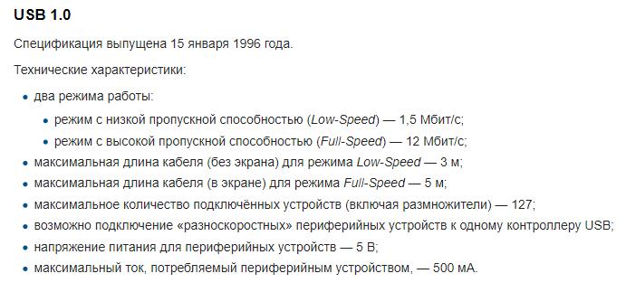 USB 1.0 - история