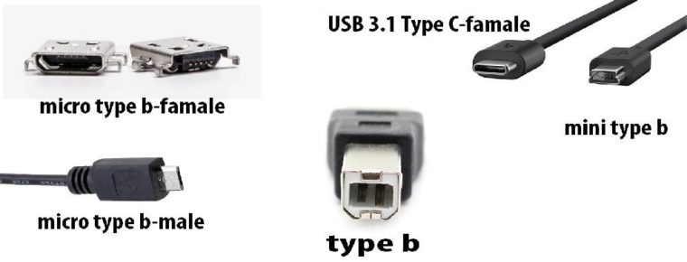 сравнение разъемов USB type B (male, famale) и USB 3.1 type C-famale